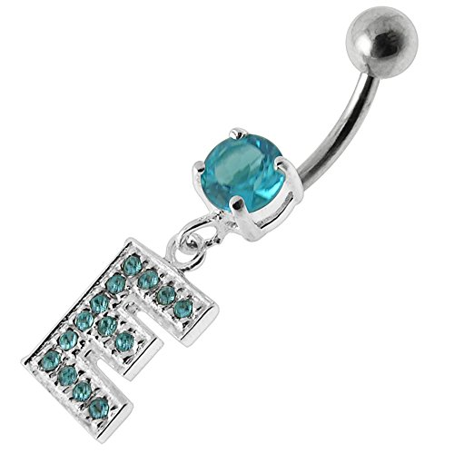 Aquamarine CZ Stone E Alphabet Dangling Design 925 Sterling Silver Belly Button Piercing Ring Jewelry