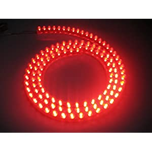 "EverBright 4-Pack Red 48CM 18.9"" 48-SMD LED Decortaion Flexible Grill Strip Light Bulbs Car Truck Waterproof led strip light PVC Chassis Modifications DRL Driving Fog Light(DC-12V)"