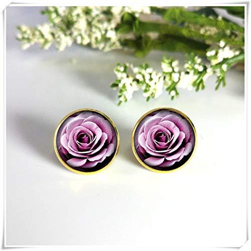 Goodnight cat Pink Rose Stud Earrings Cabochon Earrings Wedding Earring Rose Post Earrings Gold Stud Earrings Flower Studs ()