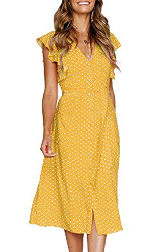 esses-Short Sleeve V Neck Button T Shirt Midi Skater Dress with Pockets Yellow Dot M ()