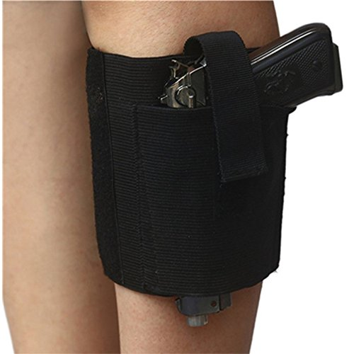 MISMXC Women's Velcro Closures Garter Holster Concealment Ankle Gun Holster Quick Release Tactical Right Hand Paddle (Black-15
