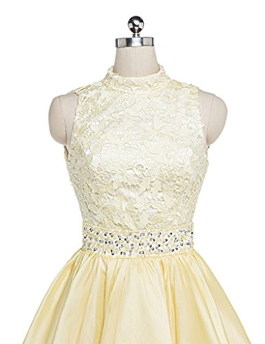 Halter Dress Cocktail Party Short Charmingbridal Yellow Mini Lace Taffeta Prom dwqaxSW7