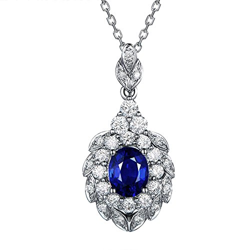 Fine Jewelry Genuine Oval Sapphire Solid 14Kt White Gold Natural Diamond Gemstone Wedding Engagement Pendant Sets by Kardy