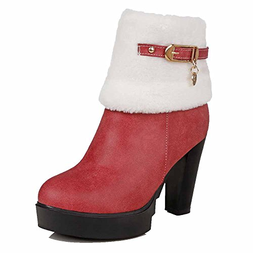 Allhqfashion Dames High-heels Zacht Materiaal Low-top Solid Chains Laars Rood