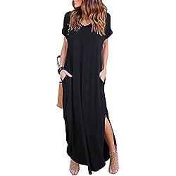 HUSKARY Women's Casual Short Sleeve Split Long Maxi Loose Dress With Pockets (XX-Large, Black)