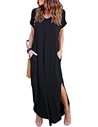 Women's Summer Maxi Dress Casual Loose Pockets Long Dress Short Sleeve Split