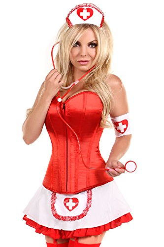 Daisy corsets Women's Lavish 5 Piece Pin-Up Nurse Corset Costume, Red, -