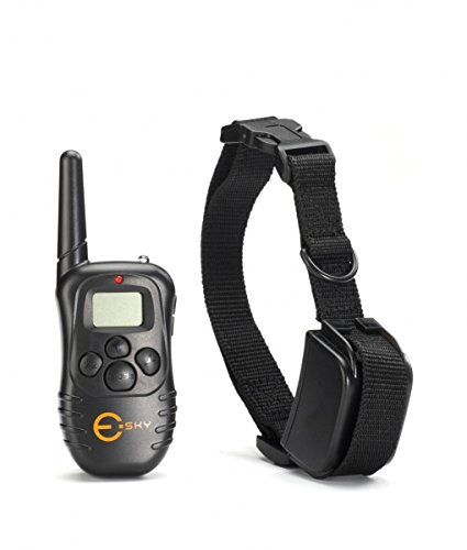 Esky Rechargable LCD Remote Control Dog Training Shock Collar with 100 Level Shock and Vibration,Black