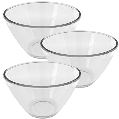Anchor Hocking (3 Pack) 2qt Glass Mixing Bowls Set Serving Bowl For Side Dishes Parties Large
