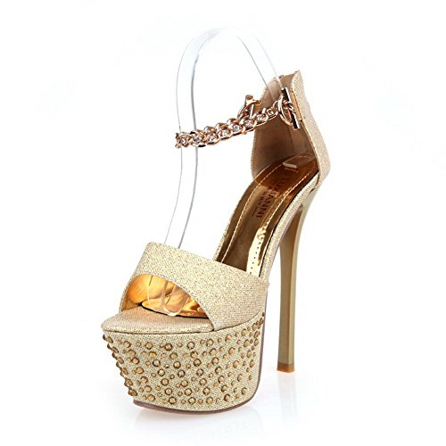VogueZone009 Womens Open Toe High Heel Sitletto Platform PU Soft Material Solid Sandals, Gold, 3.5 UK