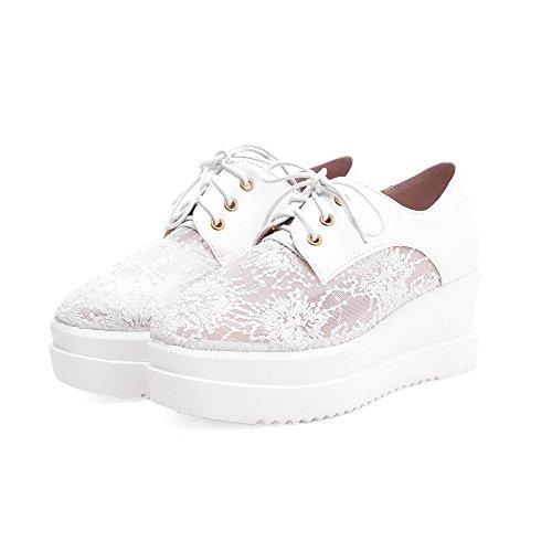 Amoonyfashion Femme Cuir Verni Carré Fermé Orteil Chaton-talons Lacets Chaussures-chaussures Blanches