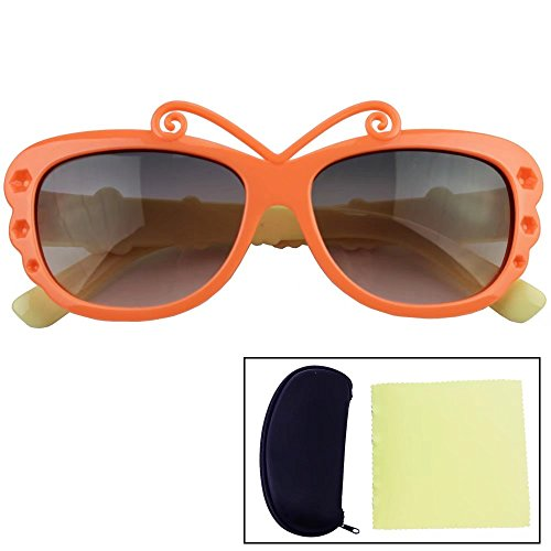 Sealive Butterfly Sunglasses Cute Kids Sunglasses Fashion Butterfly Glasses Age 3-10 Boys Girls,With Portable Zipper Eye Glasses Shell and Microfiber Cleaning Cloth,Random - Zipper Von Girls Sunglasses
