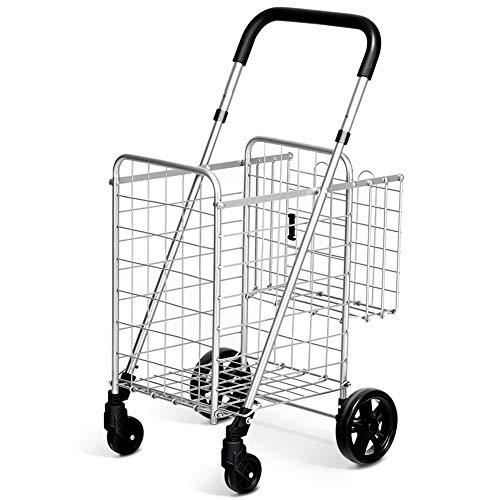 (Trolley Handle Front Transportation Carry Bags Basket Grocery Swivel Wheels Rolling Purse Jacket Umbrella Supermarket Sports Equipment Basketball Folding Shopping Cart Laundry Travel)