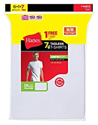 Hanes Men\'s Tagless Crewneck Undershirt 7-Pack (Includes 1 Free Bonus Crewneck), White, L