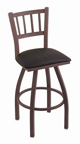 Holland Bar Stool Company 810 Contessa 25-Inch Counter Stool with Bronze Finish, Black Vinyl Seat and 360 Swivel (Contessa Wood Seat Swivel Stool)