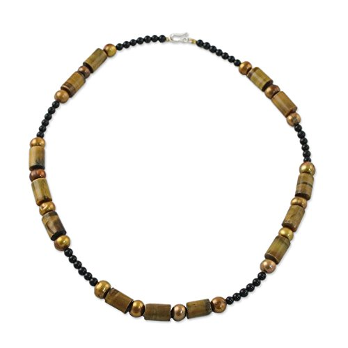 NOVICA Multi-Gem Dyed Cultured Freshwater Pearl .925 Sterling Silver Beaded Necklace 'Honey Bamboo'