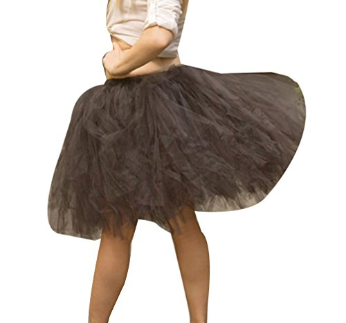 Femme Vintage Ballet Tutu Jupe en Tulle au Genou Multi-couche Pettiskirt Princesse Haute Taille Noir