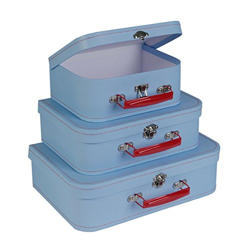 SLPR Paperboard Suitcases (Set of 3, Retro) | Light Blue Boxes for Birthday Parties Wedding Decoration Displays Crafts Photo Shoots ()