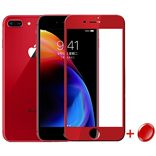 Lamshaw Red 9H Full Coverage Tempered Glass Screen Protector with Home Button Sticker-Touch ID Button for iPhone 8 Plus (iPhone 8 Plus)