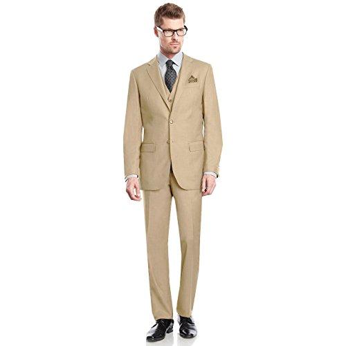 Sebastian Taheri Uomo Mens 2 Button 3 Piece Modern Fit Blazer/Jacket Flat-Front Pants by Taheri Beige 40R ()