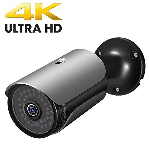 FULUVA UltraHD 4K (8MP) Outdoor Bullet POE IP Camera, 3840×2160, 130ft NightVision, IP67 Weatherproof, Heavy Duty Housing, 3.6mm Lens Wide Angle, Onvif (Black)