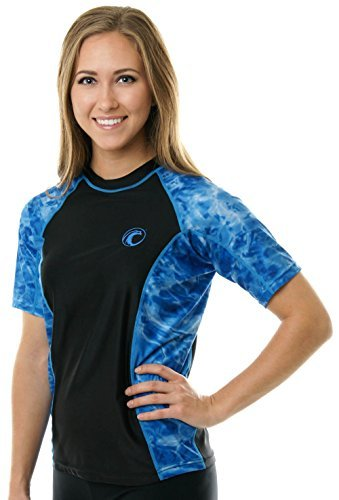 Aqua Design Rash Guard Shirt Women: UV UPF 50+ Short Sleeve Swim Shirts Surf Top: Royal Ripple/Black: Size 2XL