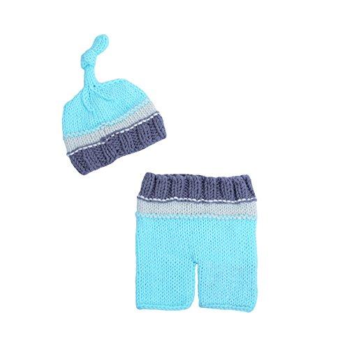 CX-Queen Newborn Infant Baby Photography Prop Crochet Knit Boy Girl Hat Pants Set (No.5) ()