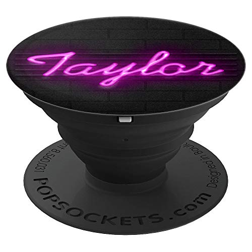 Pink Name Taylor Nightclub Light Style Custom Girl Gift - PopSockets Grip and Stand for Phones and Tablets