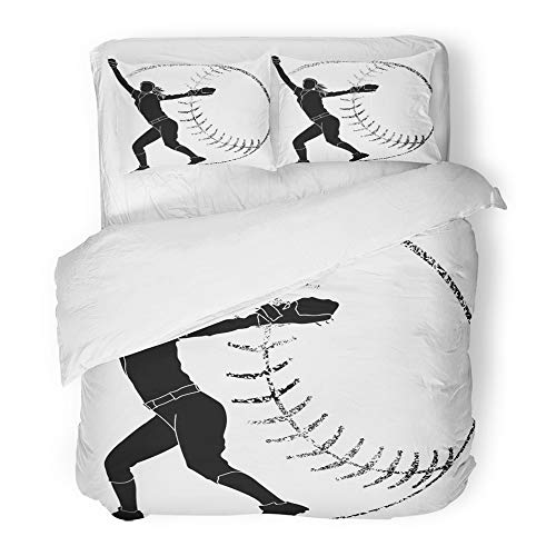 Emvency Bedding Duvet Cover Set Twin (1 Duvet Cover + 1 Pillowcase) Girl Softball Silhouette of Pitcher Grunge Athlete Female Fielder Glove Sport Sports Hotel Quality Wrinkle and Stain Resistant