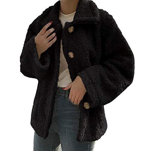 UONQD Womens Ladies Warm Artificial Wool Coat Jacket Lapel Winter Outerwear(X-Large,Black)