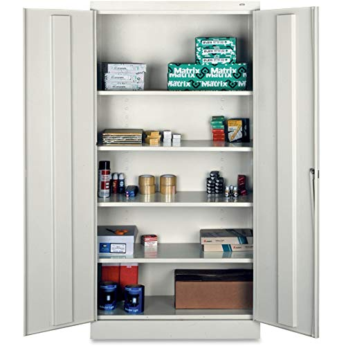 Tennsco 7218-LGY 24 Gauge Steel Standard Welded Storage Cabinet, 4 Shelves, 150 lbs Capacity per Shelf, 36