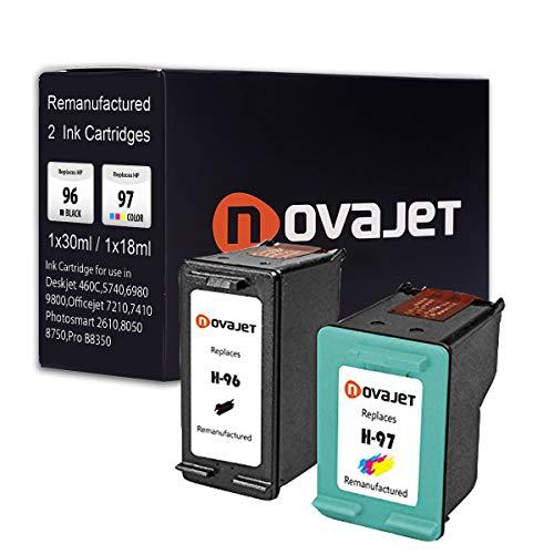 Novajet 2 Pack Remanufactured Ink Cartridge Replacement for HP 96 97(1 Black, 1 Tricolor) for HP DeskJet 5740 5748 5940 Officejet 7210 7408 7410