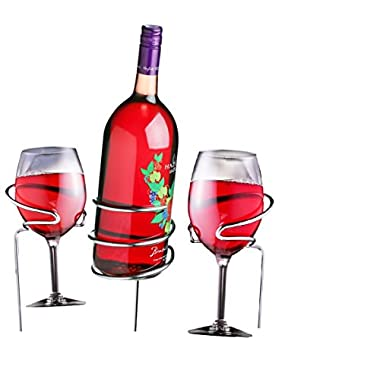 Wine Alfresco Wine Glass Holders and Matching Wine Bottle Holder; 3 Pc Stainless Steel Yard Stakes