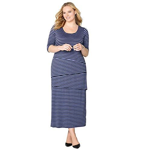 Avenue Women's Stripe Tiered Maxi Dress, 22/24 Purple Print (Print Tiered Dress Maxi)