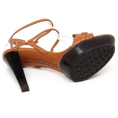 Effect Shoe Scarpe Vintage Sandalo E7756 Woman Cuoio Donna Brown Tod's Rubber 4IYqw8