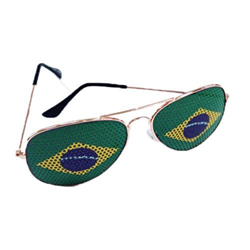 Brazilian Brazil Flag Aviator Sunglasses (Gold Frame, Brazilian - Brazil Sunglasses