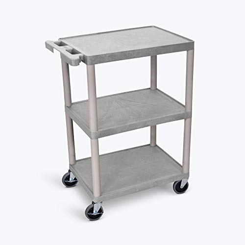 - Luxor Multipurpose Storage Utility Cart 3 Shelves Structural Foam Plastic - Gray