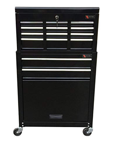Professional Mechanics Rolling Tool Chest With 8 Drawers- Durable Heavy Duty Ball Bearing Sliding Drawers Easy Open With Security Lock- Perfect Tool Organizer Storage- Home Garage Mechanic Black by Professional 8 Drawer Chest
