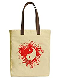 Vietsbay Feng Sui Yin Yang Printed Canvas Tote Bags with Leather Handles WAS_30