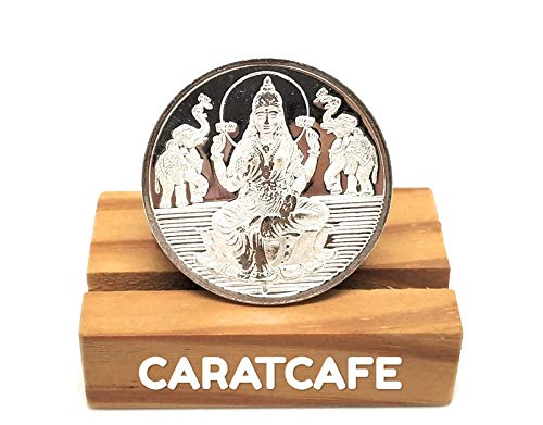 Puja Silver Coin - CaratCafe Goddess Lakshmi Silver Coin (10 Gram / 999 Purity BIS Hallmarked Certified) Laxmi Coins for Puja, Diwali Gift, Hindu Deity Pooja, Coins for Wedding Indian & Wealth, Luck & Prosperity