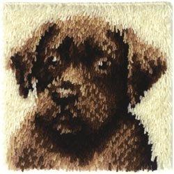 Bulk Buy: Caron Wonderart (2-Pack) Latch Hook Kit 12in. x 12in. Chocolate Dog 426173C
