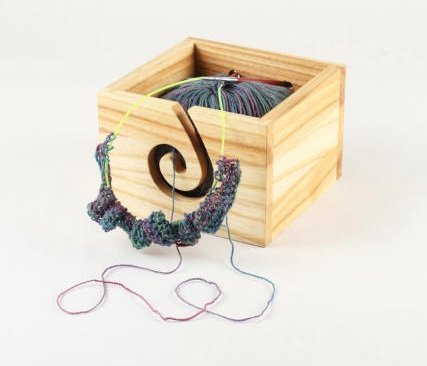Premium Solid Beech Wood Crafted Wooden Portable Yarn Square Bowl | Knitting | Crochet Holder | Hind Handicrafts (6 x 6 x 4 inch) (Storage Beechwood Cart)