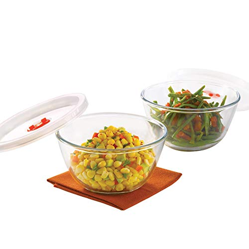 Borosil   Basics Glass Mixing Bowl with lid   Set of 2  500ml  Microwave Safe