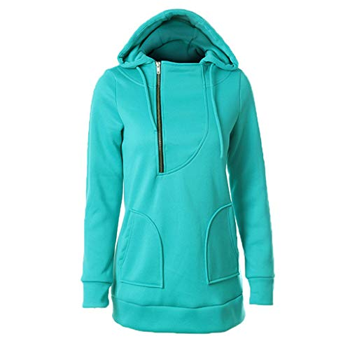 QIQIU Women's Solid Chest Zipper Hooded Hat Rope Long Sleeve Solid Autumn Winter Sweater Tops Pullovers Green