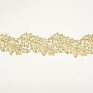 Gold Metallic Embroidery Lace trim by the yard Annielov Trim #319 for  Bridal lace applique