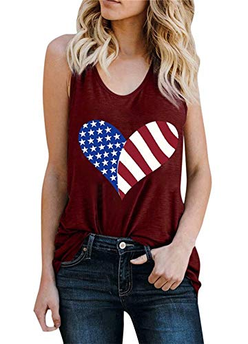 Vintage American Flag Print Tank Tops for Women Patriotic USA American Flag Sleeveless Graphic Print Tank Tops Tee Shirt Size XL (Red 3)