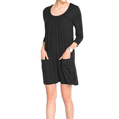 Ansenesna Vestidos Mujer Verano 2018 Largos Vestir Vestido Suelto De Bolsillo De Tres Cuartos Casual Suelta: Amazon.es: Ropa y accesorios