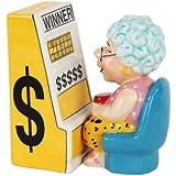 "3.75"" Casino Slots Machine Queen Grandma Magnetic Salt & Pepper Shakers -Attractives Collection"