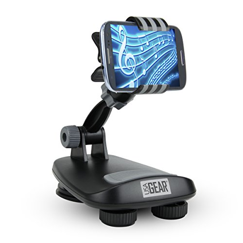 USA Gear Universal Dashboard Mount Holder w/Suction Cup Hold, Non-Slip Weighted Friction Base & 360 Degree Rotating Head – Works with Apple iPhone, Samsung Galaxy & More Phones and GPS Units