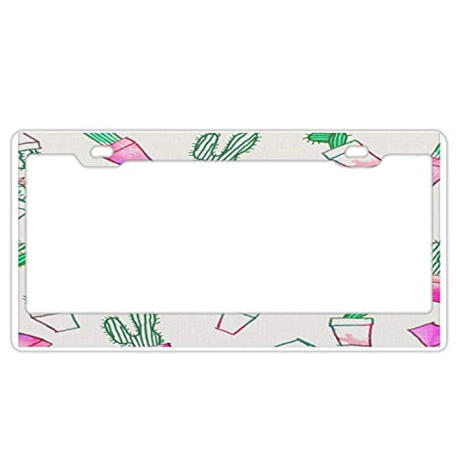 Green Watercolour - Hopes's Auto Decorative Frames Customized License Plate Frame, Car License Plate Cover, Car License Tag, Aluminum Metal License Plate Frame Holder - Cute Pink Green Watercolour Cactus Pattern